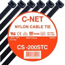 """เคเบิ้ลไทร์ 8"""" (4.8 x 200 มม.) สีดำ (C-NET Cable Tie)"""