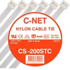 """เคเบิ้ลไทร์ 8"""" (4.8 x 200 มม.) สีขาว (C-NET Cable Tie)"""