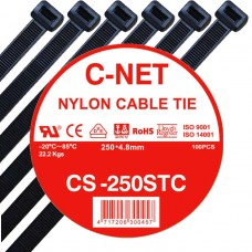 """เคเบิ้ลไทร์ 10"""" (4.8 x 250 มม.) สีดำ (C-NET Cable Tie)"""
