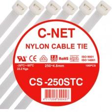"""เคเบิ้ลไทร์ 10"""" (4.8 x 250 มม.) สีขาว (C-NET Cable Tie)"""