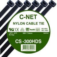 """เคเบิ้ลไทร์ 12"""" (7.6 x 300 มม.) สีดำ (C-NET Cable Tie)"""