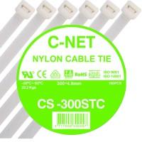 """เคเบิ้ลไทร์ 12"""" (4.8 x 300 มม.) สีขาว (C-NET Cable Tie)"""