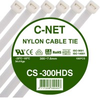"""เคเบิ้ลไทร์ 12"""" (7.6 x 300 มม.) สีขาว (C-NET Cable Tie)"""